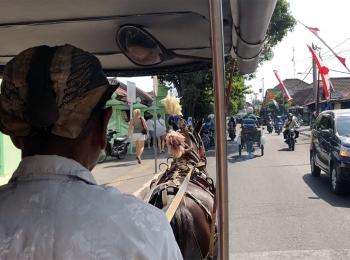 Vervoer met paard en wagen in Yokyakarta