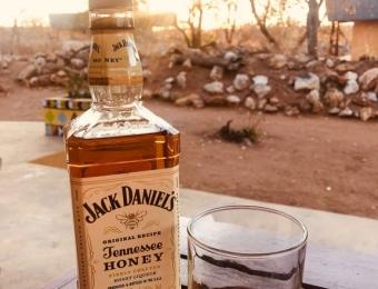 Een glas Jack Daniels aan het eind van de dag