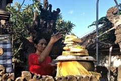 Offergaves 's morgens in de tempels in Kuta