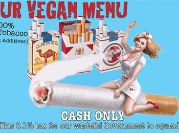 Het vegetarische menu in the Heart Attack Grill
