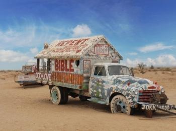 Salvation Mountain Bible Car