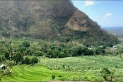 Landschap van oost-Bali onderweg naar Tulamben