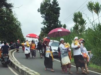 Onderweg komen we veel hindoeïstische processies tegen