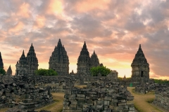 Prambanan tempel bij zonsondergang