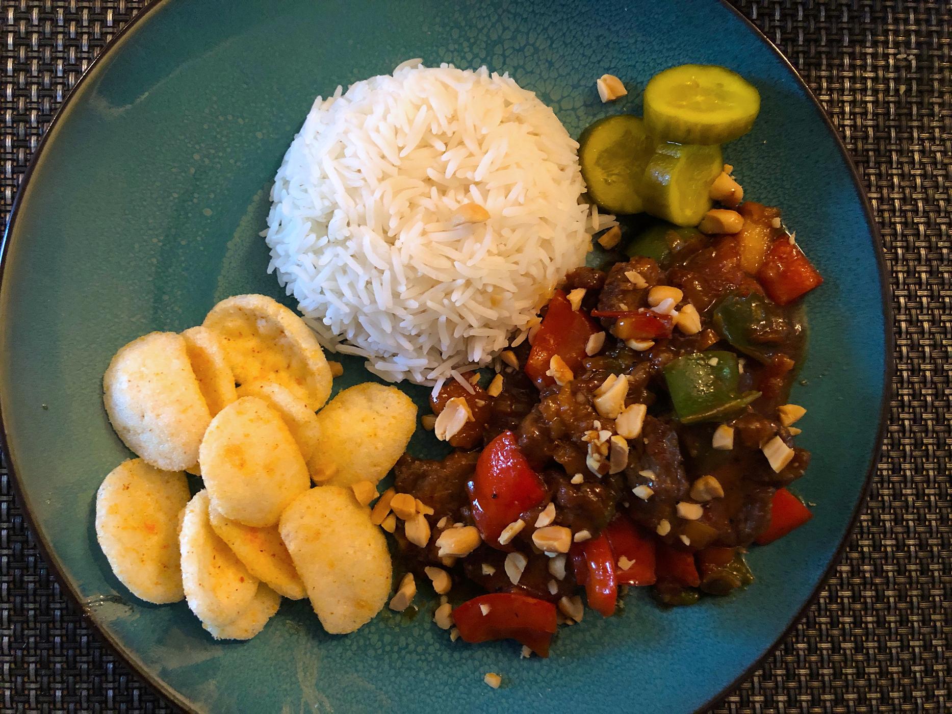Chinees-Indische maaltijd met rundvlees