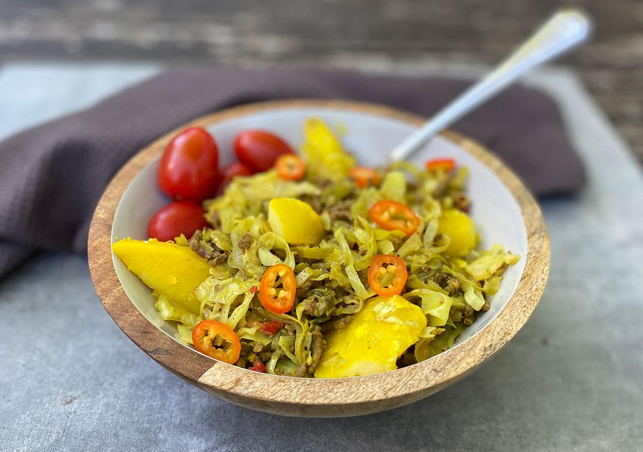 Surinaamse-spitskool-stoofpot met masala